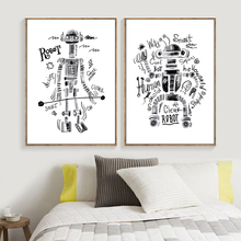 Cartoon Robot Wall Art Canvas Painting Positive Quotes Nordic Posters And Prints Pictures For Kids Room Home Decor