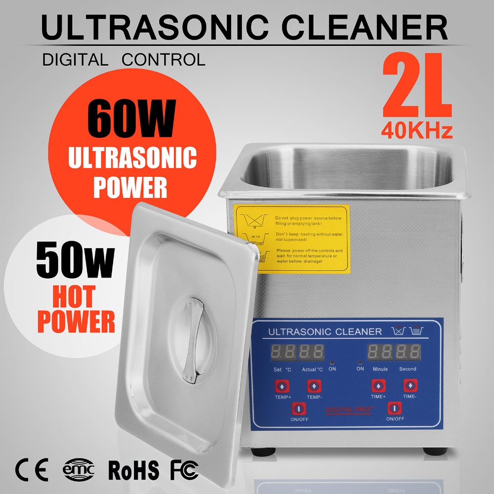 Digital Heater Commercial Ultrasonic Cleaner For Jewelry Eyeglass Cleaning 2L