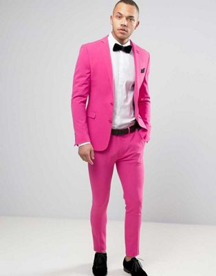 2017 Latest Coat Pant Designs Hot Pink Men Wedding Suits Slim Fit ...