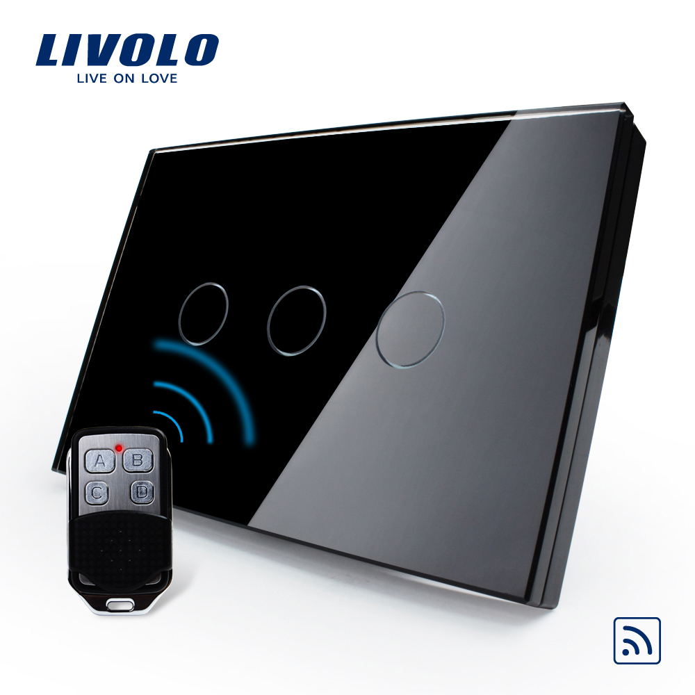 Livolo US/AU standard Remote Touch Screen Light Switch With Mini Remote, Black Pearl Crystal Glass Panel  ,VL-C303R-82&VL-RMT-02 2017 smart home crystal glass panel wall switch wireless remote light switch us 1 gang wall light touch switch with controller