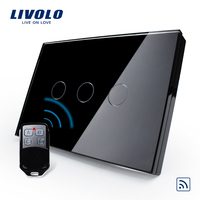 Package US AU Black Pearl Crystal Glass Panel Wireless Remote Touch Screen Light Switch With Mini