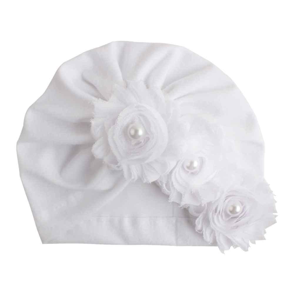 New Infant Newborn Caps with Pearl Chiffon Flowers Cotton Blend Kont Turban Girls Stretchy Beanie Hat Baby Hair Accessories