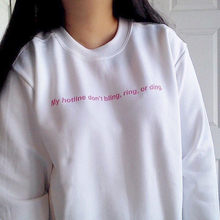 Aesthetic Unisex Tumblr Crewneck My hotline don t bling ring or ding Sweatshirt  Graphic Hipster Pink Letter Pullover Jumper Tops a1e01dbe5