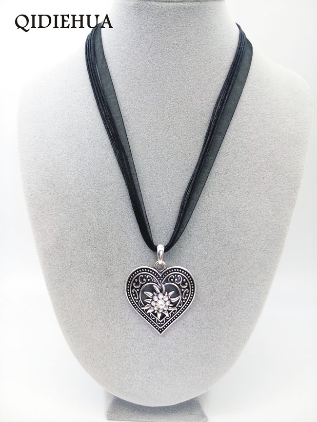 Antique Silver Love Heart Necklaces Pendants Oktoberfest Edelweiss Statement Necklace for Women Shiny Stone Ribbon Cord Choker