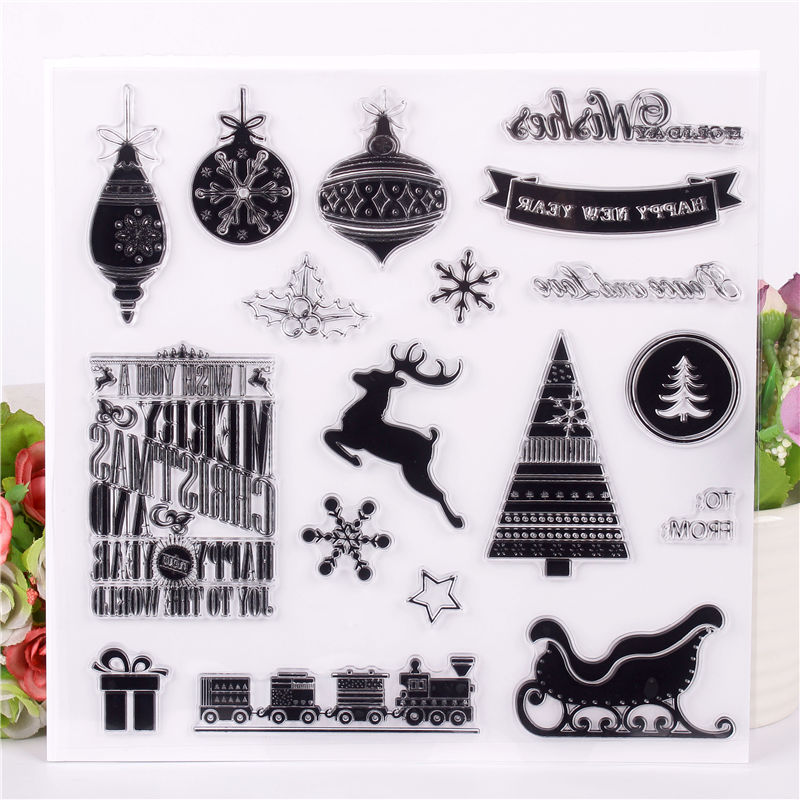 DLKSDIY Christmas day dress text Transparent Clear Stamp DIY Silicone Seals Scrapbooking / Card Making/Photo Album Decoration loving heart and ballon transparent clear stamp diy silicone seals scrapbooking card making photo album craft cl 285
