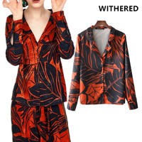 Withered Blouse Women Kimono Shirt England Drop Shoulder Printing Of Plant Notched Collar Womens Tops And