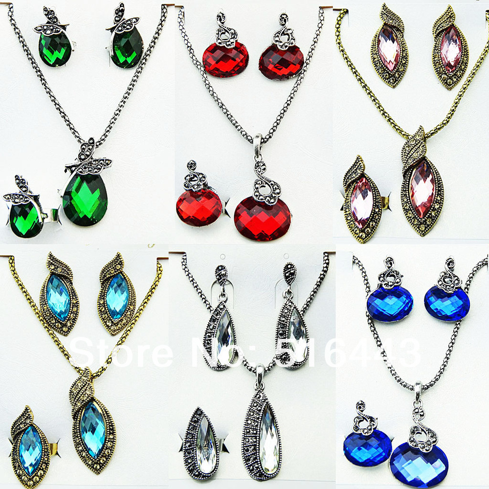 10 Sets Charms Antique Tibetan Silver Crystal Rhinestones Womens Earrings Necklace Ring Jewelry Sets Wholesale Lots A-194