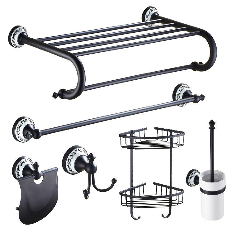 Bath Hardware Sets Bathroom Hardware Bathroom Fixture Home Improvement Bathroom Towel Rack Bar Toilet Brush Rack Blacken Copper