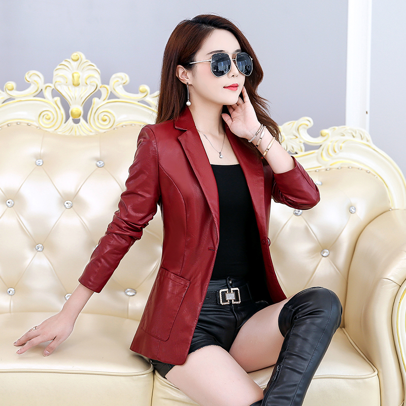 Women Spring Autumn PU   Leather   Jacket Casual Slim Soft Jacket Biker Faux   Leather   Jacket Women
