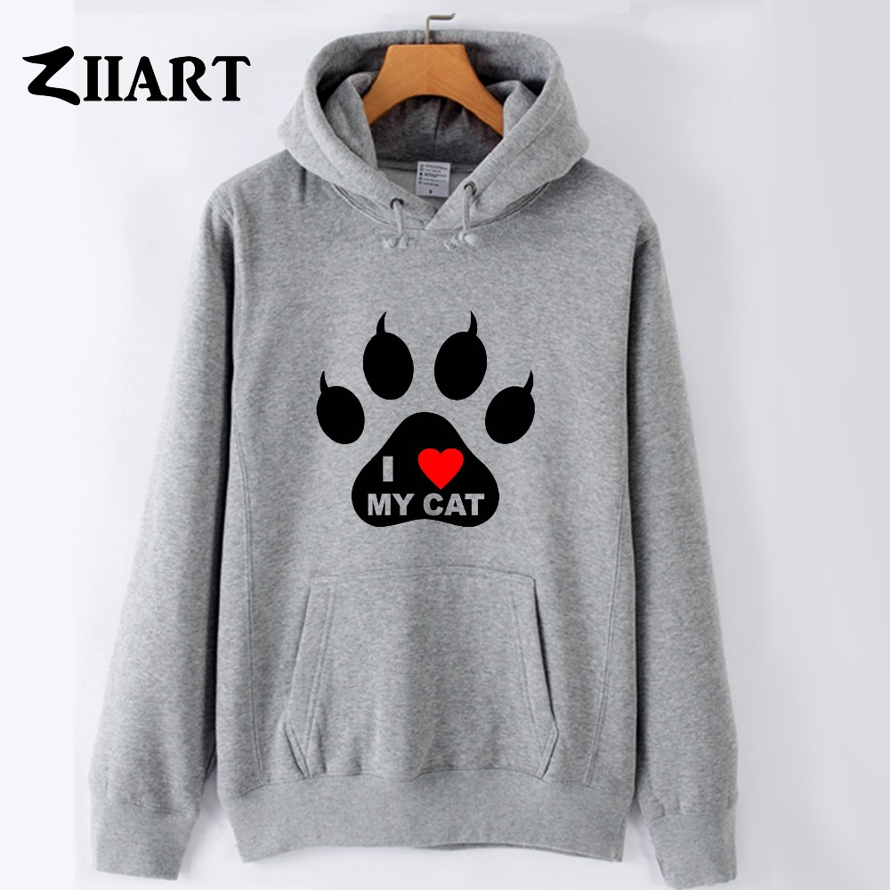 Women's Clothing I Love My Cat Pet Pad Paw Print Red Heart Couple Clothes Girls Woman Female Autumn Winter Cotton Fleece Hoodies
