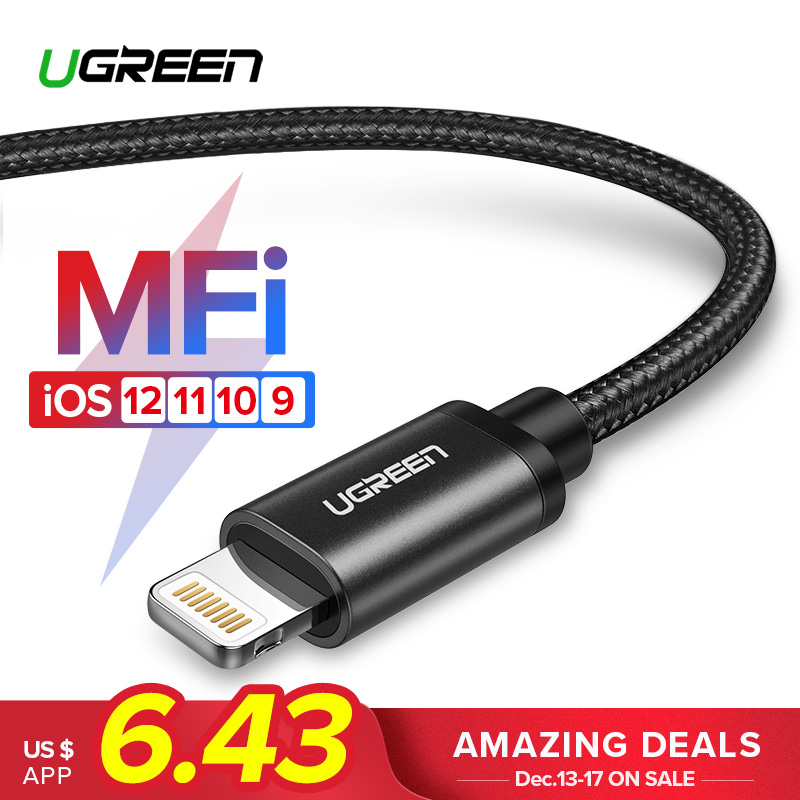 Ugreen MFi Cable USB para iPhone Xs Max 7 Plus 2.4A de carga rápida Cable Lightning para iPhone 6 iPhone 6 de datos USB cable de Cable del cargador del teléfono