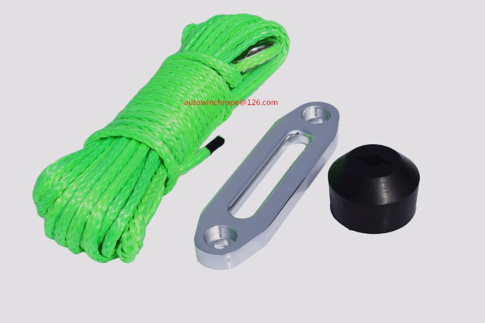 Green 6mm*15m Spectra Winch Rope add 4500lbs Winch Fairlead and Winch Stoppper,ATV Winch Cable,Off Road RopeGreen 6mm*15m Spectra Winch Rope add 4500lbs Winch Fairlead and Winch Stoppper,ATV Winch Cable,Off Road Rope