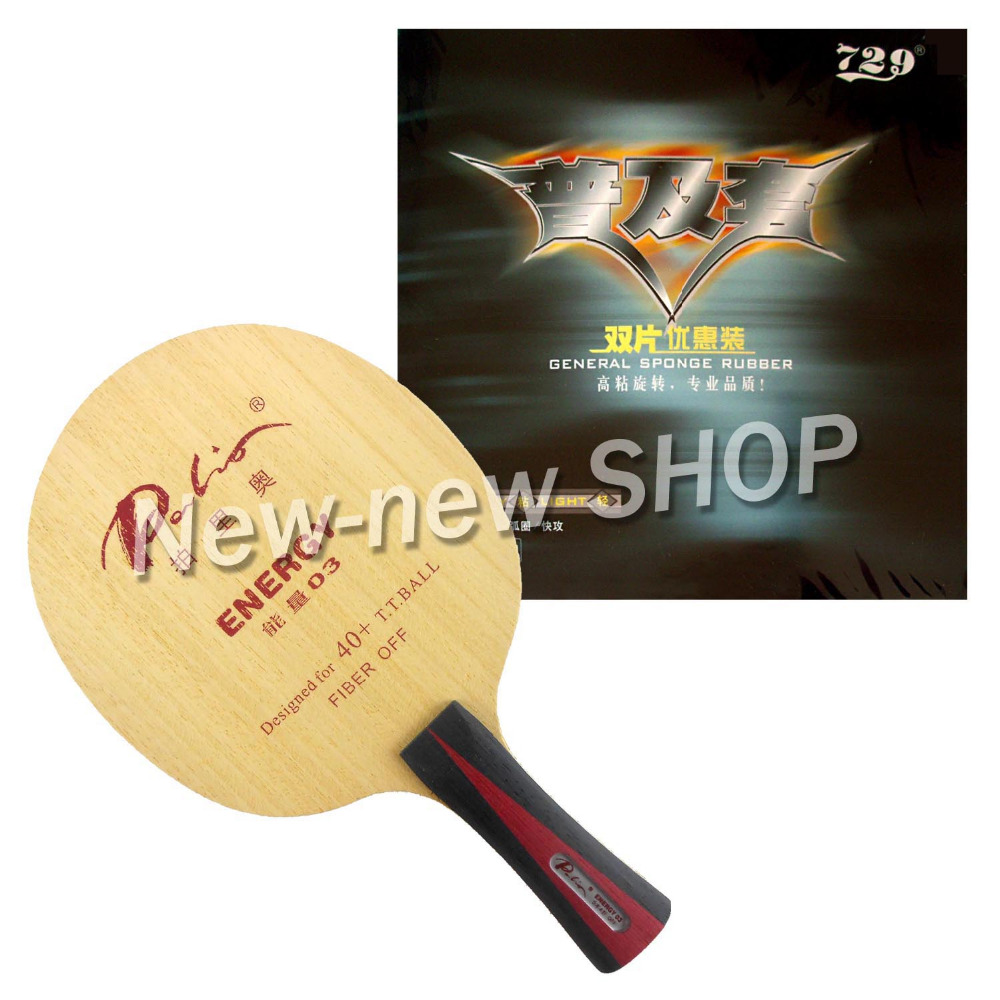 Palio ENERGY 03 Blade With 2x RITC729 General Rubbers For A Racket Shakehand Long Handle FL