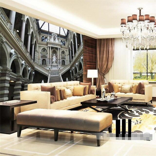 Beibehang behang woonkamer Europese middeleeuwse architectuur paleis ...