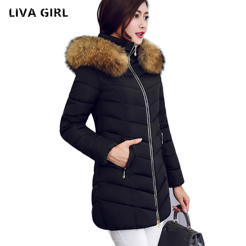 2017 Winter Women Jacket Fashion Long Thick Warm Down Cotton Jacket Women High Quality fake Fur Collar Slim Coat Overcoat Parka