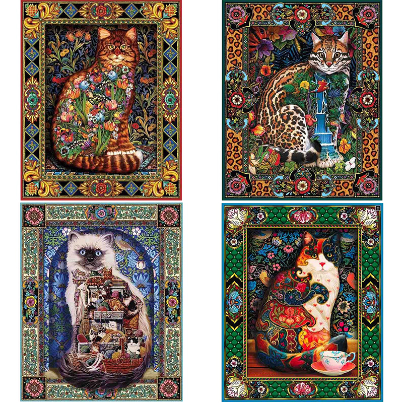 5D DIY Full Square/Round Drill Diamond Painting Animal Cat world & flower Rhinestone Cross stitch embroidery Mosaic decor gift(China)