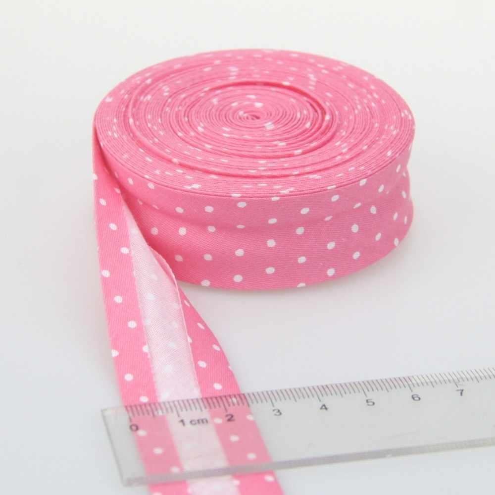 """Bandas de ancho de 20mm(3/4 """"), planchas con estampado de puntos, cinta de encuadernación de algodón de pliegue único para mantel, ropa, colcha, costura artesanal"""