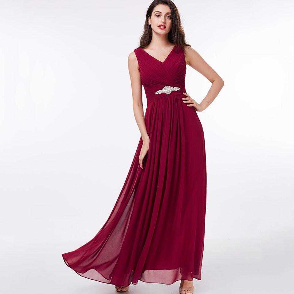 Dressv burgundy long   evening     dress   cheap v neck zipper up beading pleats wedding party formal   dress   a line   evening     dresses