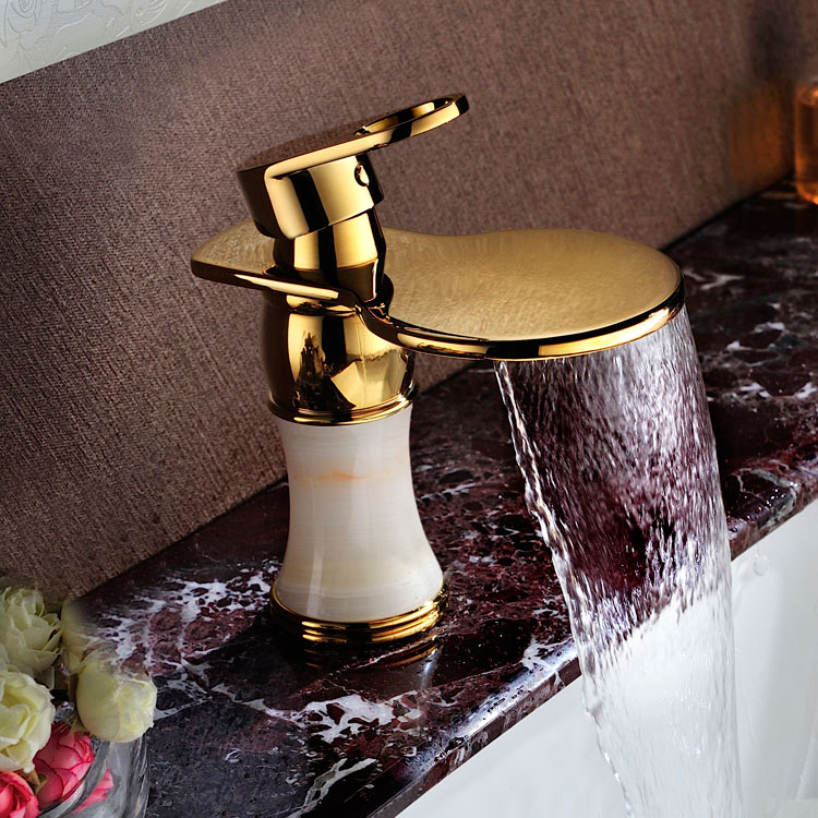 Luxury brass jade gold finished bathroom sink waterfall faucet golden basin Hot and cold water mixer tap faucet--MD460Luxury brass jade gold finished bathroom sink waterfall faucet golden basin Hot and cold water mixer tap faucet--MD460