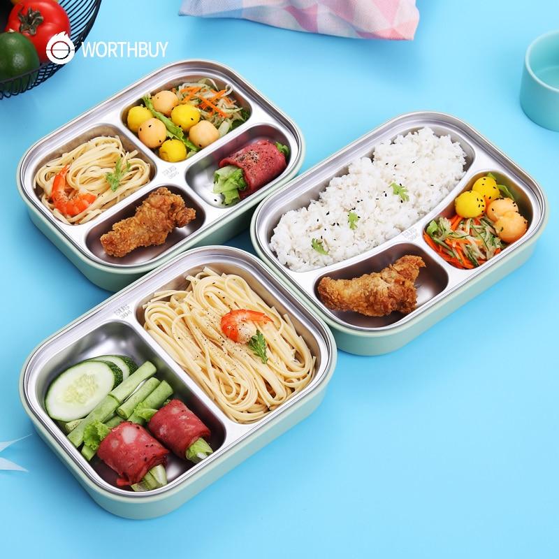 WORTHBUY 304 En Acier Inoxydable Boîte À Lunch Japonaise Avec Compartiments Micro-ondes Bento Box Pour Les Enfants École Pique-Nique Récipient de Nourriture