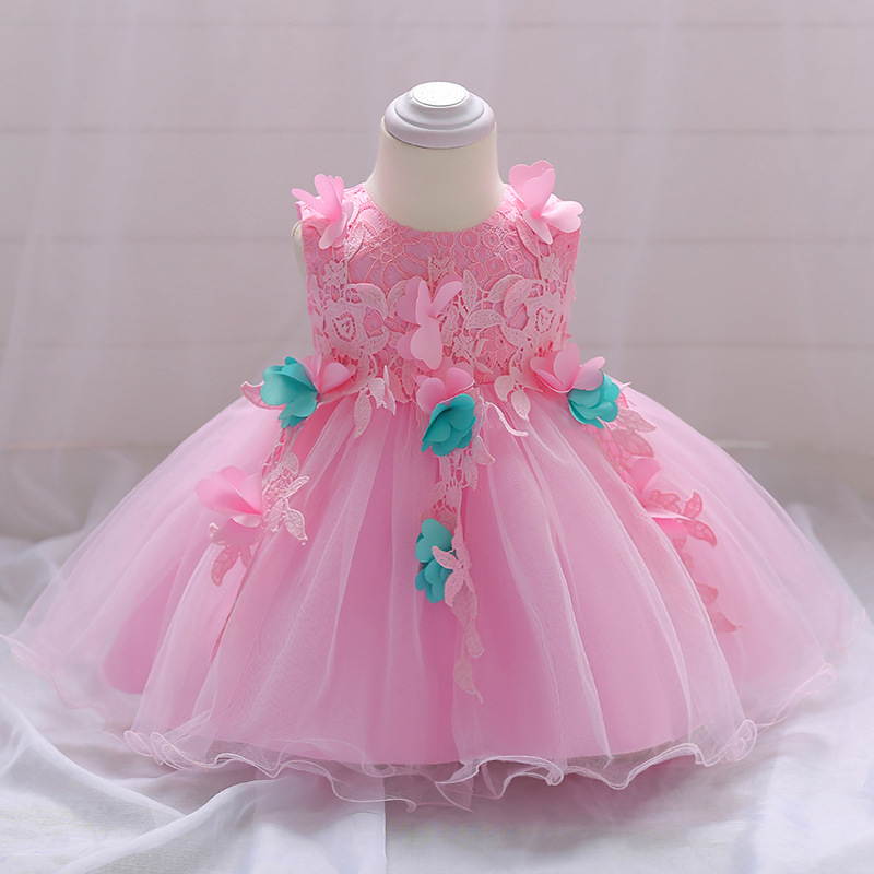 Cute Baby Clothing Pink Flower Baby Girl Dress with Bow Lace Princess Costume for Baby Wedding and Party Wear 0 <font><b>6</b></font> <font><b>12</b></font> <font><b>24</b></font> months image