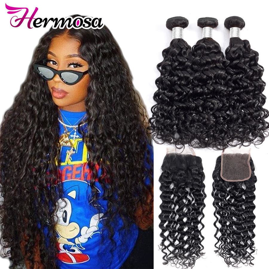 Hermosa Hair Water Wave Bundles With Closure Brazilian Hair Weave Bundles With Closure Remy Human Hair 3 Bundles With Closure(China)