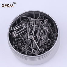XFKM 50/100 шт. плоские скрученные сплавленные спирали clapton готовые оберточные провода Alien Mix скрученные Quad Tiger сопротивление нагреву rda