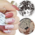 Nail Art Sello Plantilla Encaje Arabesque Diseño Flor 5.5 cm Ronda Placa de la Imagen