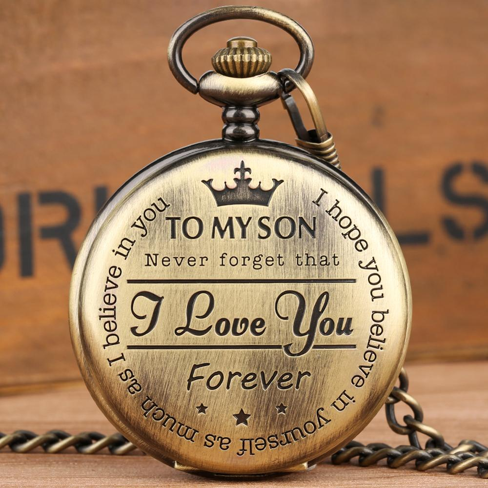 Pocket Watch Personalized Pattern Steampunk Retro Vintage Quartz Roman Numerals Pocket Watch TO MY SON Boys Watch Xmas Gift Box