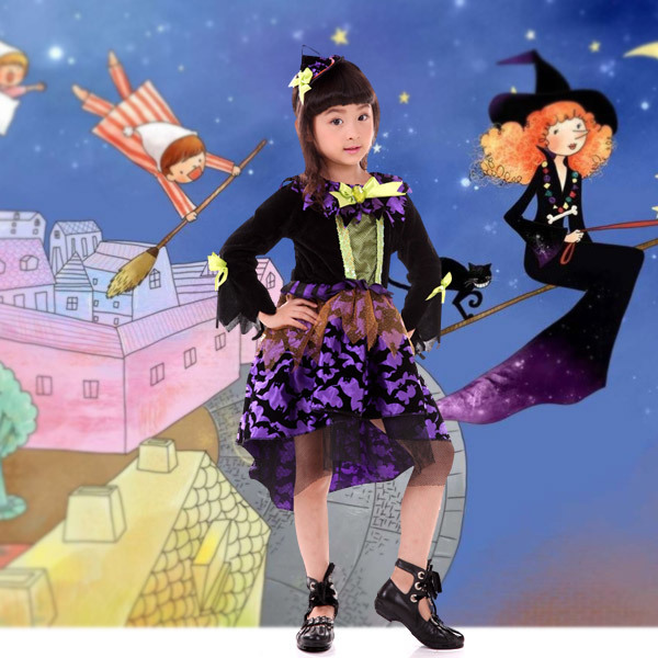 Girls Halloween Dress 3 4 5 6 7 8 9 10 Years 2018 New Long Sleeve Toddler Halloween Costumes Witch Cosplay Clothing Dance Dress gothic victorian dress pirate costume female halloween costumes disfraces adultos haloween medieval disfraces halloween witch