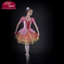 Adult Ballet Clip Siamese Fairy Dress Candy Peach Skirt Professional LDStylish Big Swing Princess Tutu