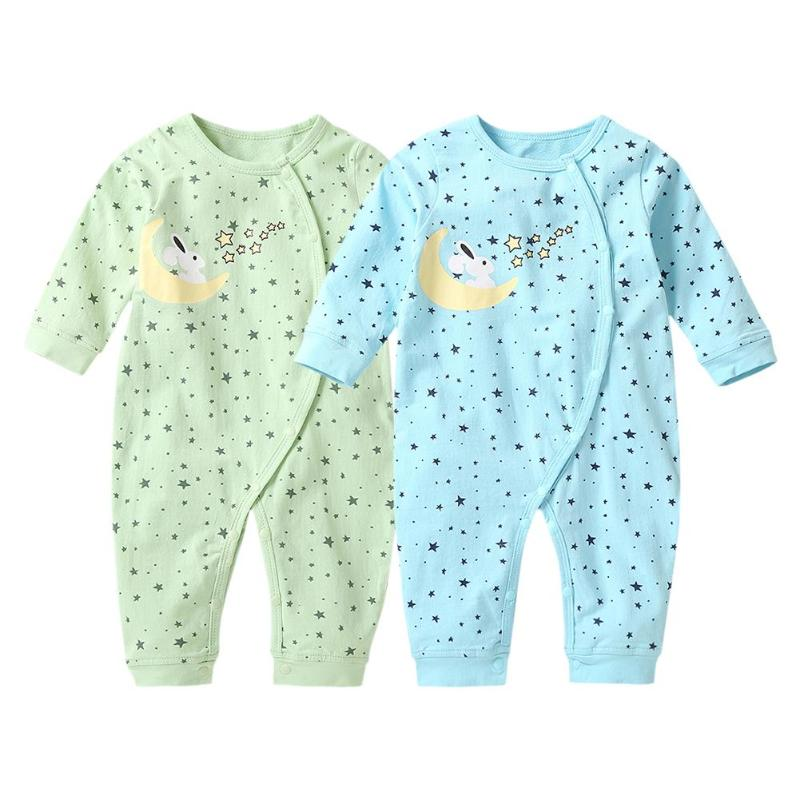 Cartoon Stars Print Baby   Romper   Long Sleeve Oblique Buttons O-Neck Jumpsuit
