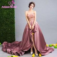 Vestido 2017 Pembe Dantel Uzun Ön Kısa Arka Uzun Yüksek Düşük zarif Balo Gerçek Resim Abiye Kolsuz Hi Lo Akşam elbise