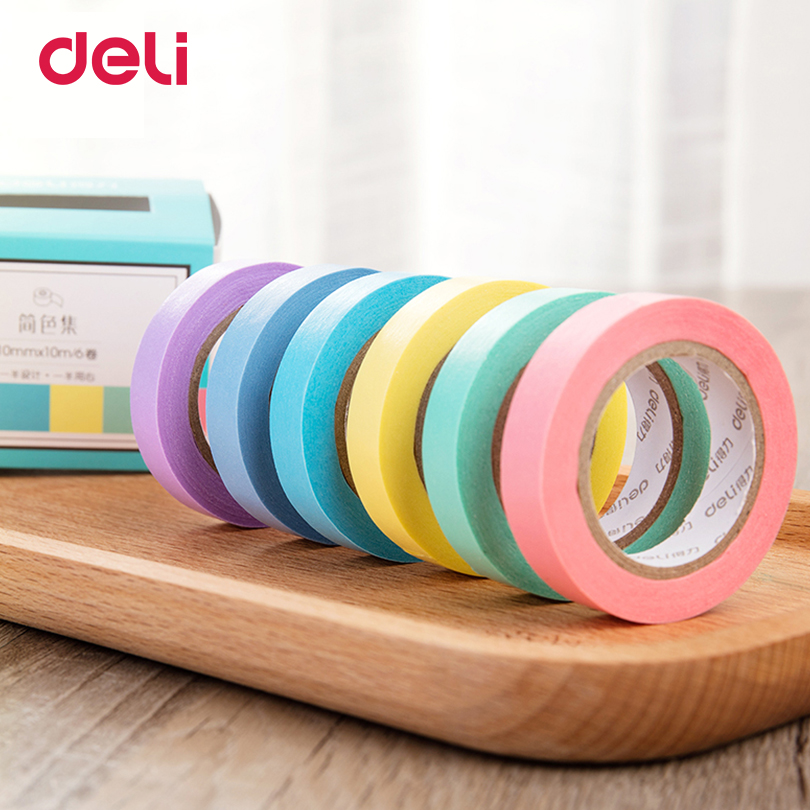 Deli 6 PCS a set 6 Color office Adhesive Tape solid Paper washi Scrapbooking Sticker Label Masking Tape Office School Supplies 1 pcs deli 2 4cm 10y super slim strong adhesion white double sided tape doubles faced adhesive for office supplies