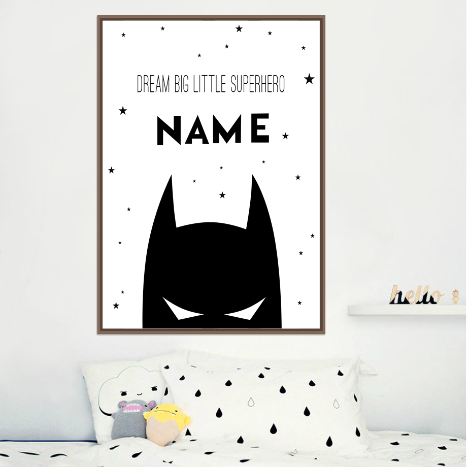AFFLATUS Personalized Superhero Name Boy Canvas Art Posters And Prints , Custom Batman Name Canvas Painting Baby Room Wall Decor