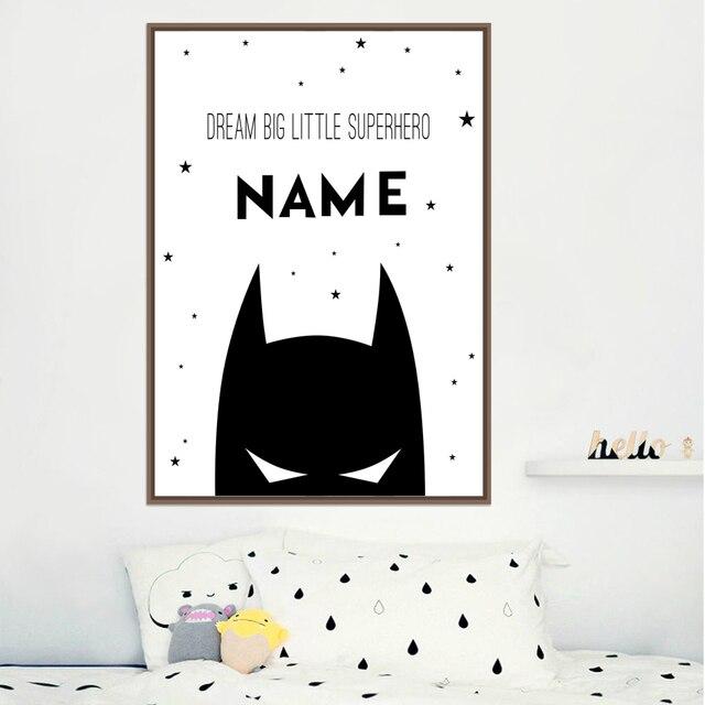 כשההשראה אישית Superhero שם ילד בד אמנות פוסטרים והדפסים, מותאם אישית באטמן שם בד ציור תינוק חדר קיר תפאורה