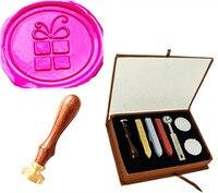 Vintage Christmas Gift Box Shape Bowtie Wedding Invitation Wax Seal Sealing Stamp Sticks Spoon Gift Box