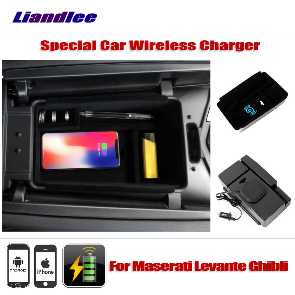 Liandlee For Maserati Levante Ghibli Special Car Wireless Charger Armrest Storage For IPhone Android Phone Battery Charger