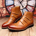 Tamanho EUA Novo Rugas Couro Brogue Wingtip Formais Dos Homens Vestido de Negócios Oxford Chelsea Tornozelo