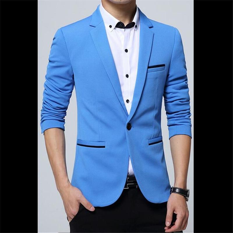 Spring Autumn Fashion Solid color Small Suit Men Leisure Suit Cultivate Ones Morality Mens Business 5 Color Suit Jacket 2017