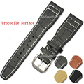 22mm MENS Manual Itália Genuine Black Leather Watch Strap Banda PARA IWCWATCH Cinta Fivela Pulseira de Couro Marrom