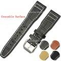 22mm MENS Manual Itália Genuine Black Leather Watch Strap Banda PARA IWCWATCH Cinta Fivela Pulseira de Couro Marrom