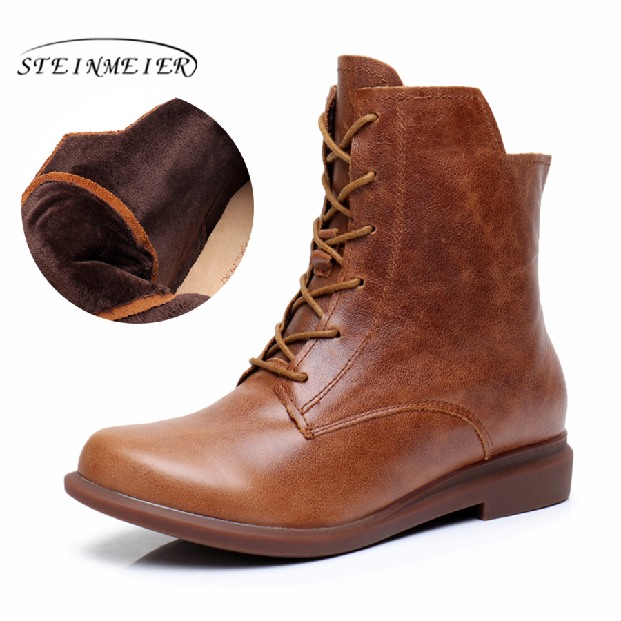 Genuine Leather Ankle Boots Comfortable quality soft Shoes Brand Designer Handmade brown with fur 2017