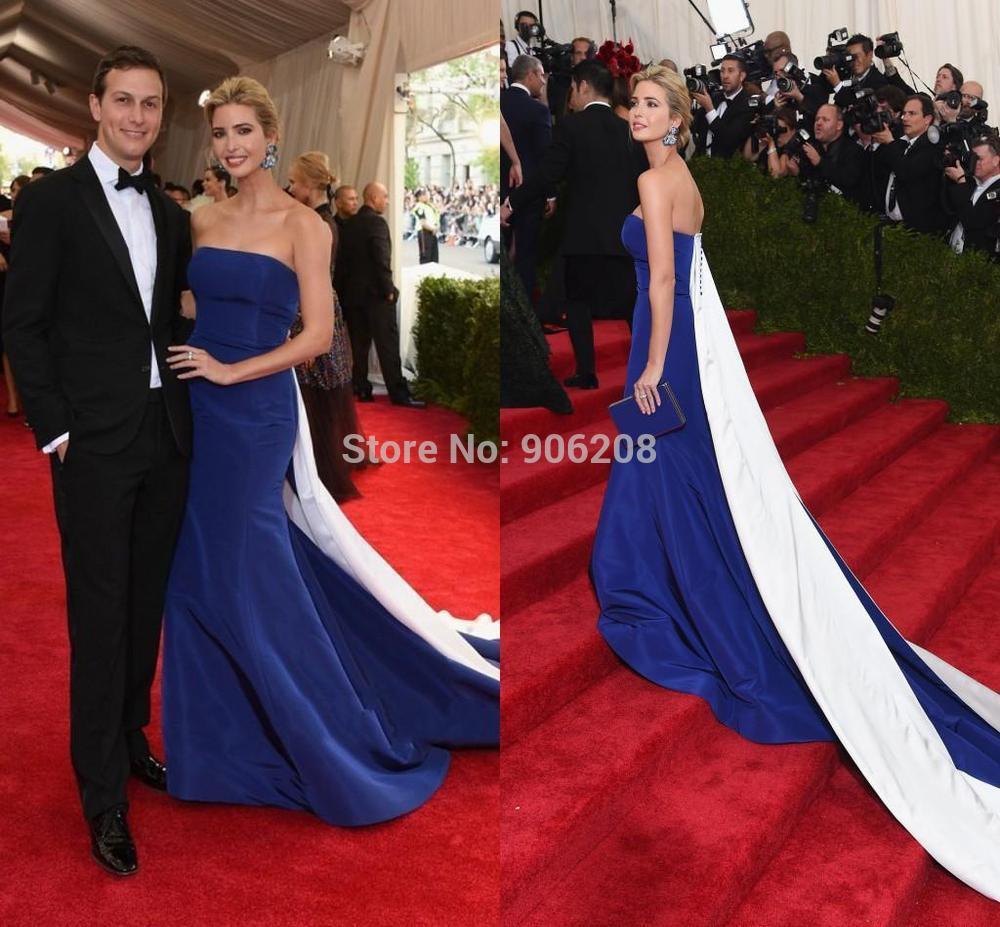 2015 mode bretelles bleu blanc celebrity formelle robes de soirée amovible train piste red carpet robes de célébrités