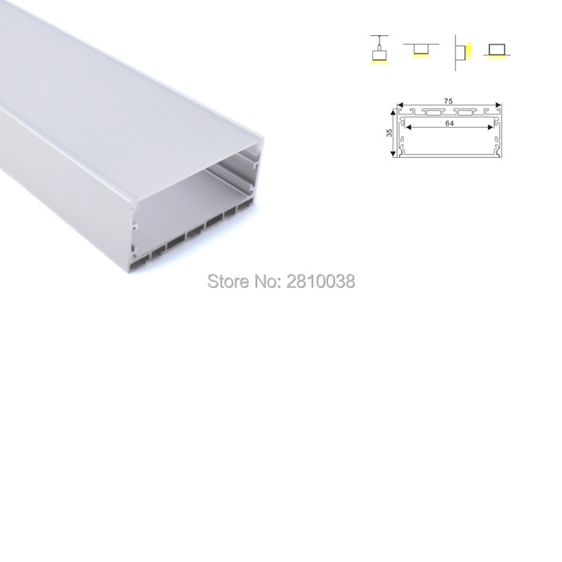 12X 2M Sets/Lot office lighting aluminum U channel and super wide aluminum led strip profile for ceiling or pendant light free shipping super wide u shape aluminum anodized profile for led strips with cover and end caps for dual row led strip
