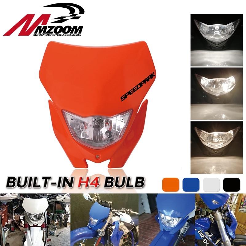 Motocicleta fora do farol para yamaha honda wr 450 250 yz ttr enduro supermoto da bicicleta sujeira motocross carenagem do farol
