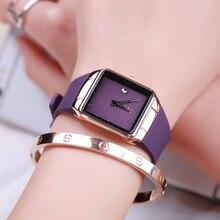 Marca de Fábrica superior Ultra Delgado Reloj de Moda Femenina Señoras Reloj Cuadrado de Regalo de Lujo de Corea Calendario de Cuero Genuino Reloj Resistente Al Agua