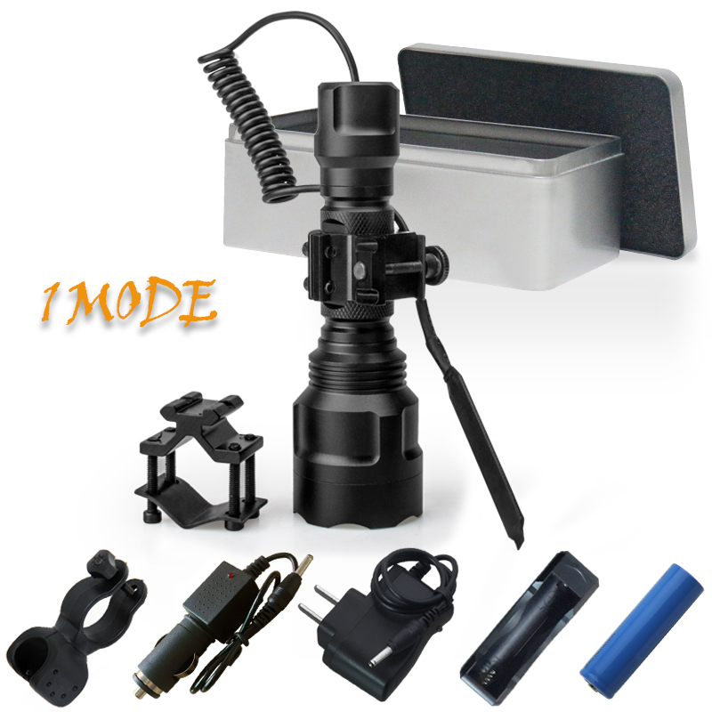 1 mode 5000 lumens spotlight hunting tactical flashlight led torch cree xm l2 xml t6 18650 rechargeable battery hand lamp light