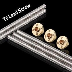 3D Printer &CNC THSL-500-8D Length 100/200/300/400/500/600mm T-type Stepper Motor Trapezoidal Lead Screw 8MM Thread 8mm T8