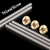 Impresora 3D y CNC longitud de THSL-500-8D 100/200/300/400/500/600mm Motor paso a paso tipo T tornillo de plomo Trapezoidal 8MM rosca 8mm T8